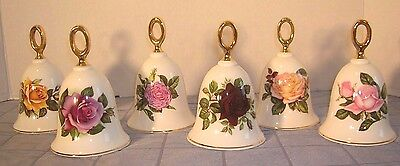 Lot Of 6 Danbury Mint Fine Bone China American Rose Bell Collection (B7)