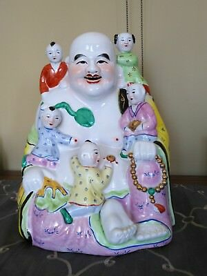 LUCKY Vintage Chinese Famille Rose Porcelain Happy Buddha with 5 Children Statue