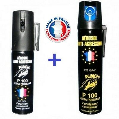 Pack  Bombe lacrymogène GAZ CS 75 ml + GEL 25 ml promotion