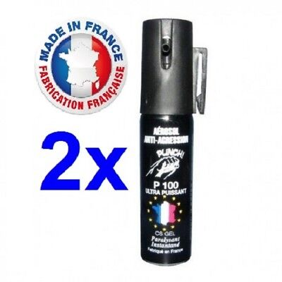 Pack 2 x Bombe lacrymogène GAZ CS + GEL 25 ml promotion