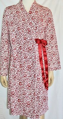 Women's Motherhood Maternity Robe Burgundy Red White Floral Scroll M