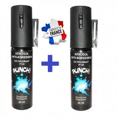 Pack 2 x Bombe lacrymogène GAZ CS Colorant 25 ml promotion