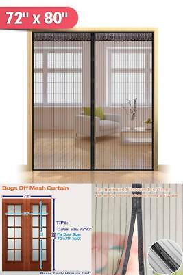 "Hands Free Magnetic Screen Door for French Doors,Full Frame Bug 72""(w) x 80""(h)"