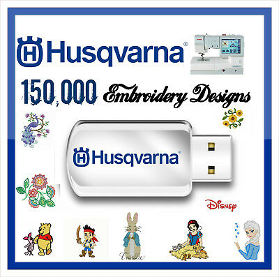 150,000 Husqvarna Embroidery Designs files HUS Format Cards on USB Drive