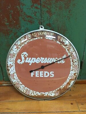 """Vintage Super Sweet Feeds Round 12"""" Glass Advertising Thermometer Farm Sign"""