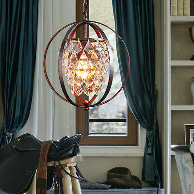 Starthi Mini Crystal Pendant Light Globe Chandelier ,Antique Wrought Iron Light
