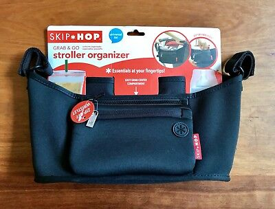 Skip Hop Grab and Go Attachable Stroller Organizer and Cup Holder Black New Tags