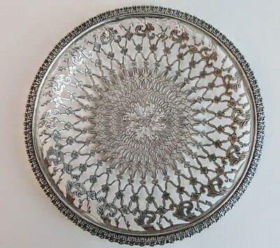 "Fabulous Tiffany Sterling Reticulated Circular Foot 7"" Tray 1892-1902"