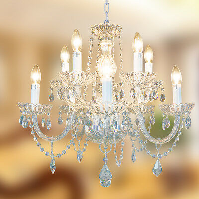 Starthi Antique 10 Lights K9 Crystal Chandelier Lamp Ceiling Light H 22'' W 25''