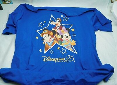 25 Jahre Disneyland Paris T-Shirt XXL blau Mickey Mouse Discover the Stars Goofy