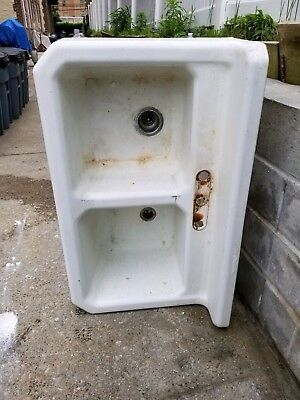 VTG 1939 Standard Sanitary Double Basin Cast Iron Porcelain Farm House Sink