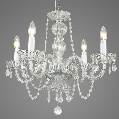Starthi Mini Crystal Chandelier, Vintage Chandelier Pendant Light 4-Light-Clear