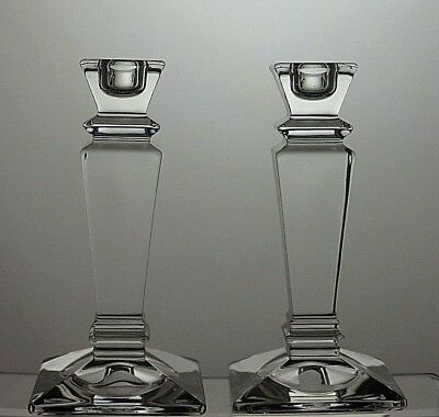 Pair Crystal Cut Glass Candle Holders Stands Candlesticks Tealight