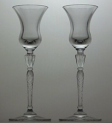 """Pair Of Royal Doulton Crystal """"oxford"""" Cut Candle Holders Stands Candlesticks"""
