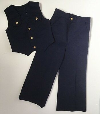 70s Disco Handmade Blue 2-Pc Boys Suit Vest Pants Trousers 6 7 Yrs FREE SHIP