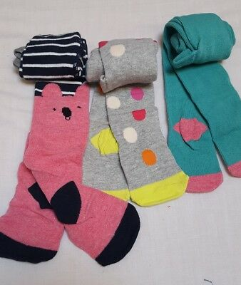 NEW⭐BNWT NEXT Baby Girl 6-9-12 month Cotton Blend Spotted Multi Bright Tights x3