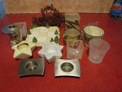 Lot Of 10 Various Partylite Candleholders Bisque, Silver, Brass & Glass Lot B