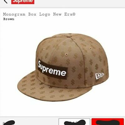 6a570012 SUPREME MONOGRAM BOX Logo New Era RED 7 1/2 Hat (Sold Out) READ ...