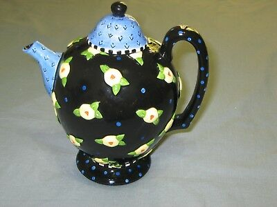 "MARY ENGELBREIT ME Ink 1997 8"" Ceramic Teapot ~ Flowers Dots Black Blue Yellow"
