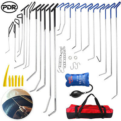 35x PDR Rods Paintless Dent Removal Auto Body Hook Tool Pump Wedge Hail Repair