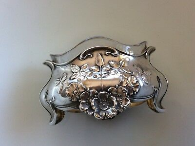 French Nouveau Sterling? Silver Salt Dip Caviar Dish Albert Deflon Wild Rose Old