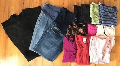 Maternity Lot Size M - 14 Pieces Total Pants Tops Various Brands Casual Dressy