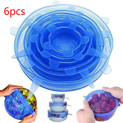 6pcs Reusable Silicone Wrap Bowl Seal Cover Stretch Lid Keep Food Fresh Kitchen