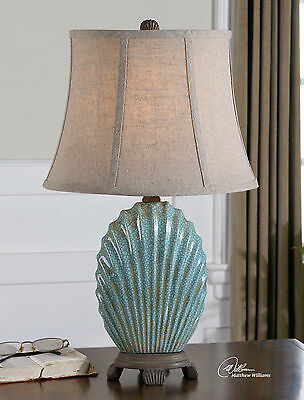 Crackled Blue Gray Finish Table Lamp Modern Coastal Beach Shell Light Decor
