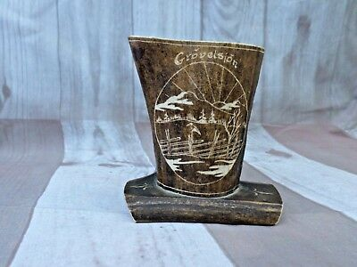 Vintage Swedish Natural Hand Carved Reindeer Horn Souvenir Vase