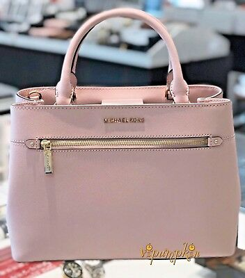 a793449b289d MICHAEL KORS HAILEE Medium Satchel Saffiano Leather Bag Blossom ...