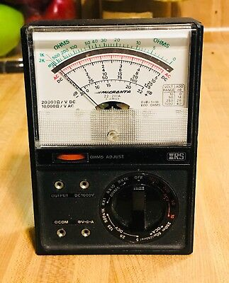Vintage Analog Micranta AC/DC Volt Meter Made in USA With Box