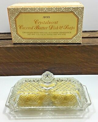 Vintage Avon Covered Butter Soap Dish And 2 Butter Soaps
