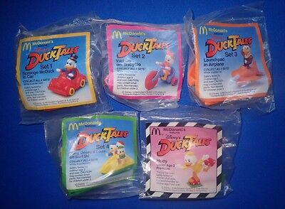 Walt Disney McDonalds Australia Duck Tales Happy Meal Toys Set (5) 1980s SEALED!