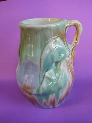 Australian Pottery Braemore  Jug/Vase Applied Gum Leaves & Nuts  Design Mint