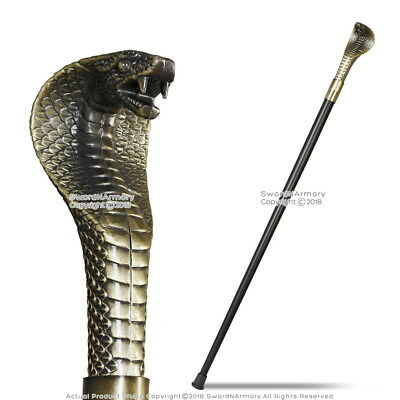 "37"" Cobra Head Gentleman's Walking Stick with Metal Cane and Rubber Tip"