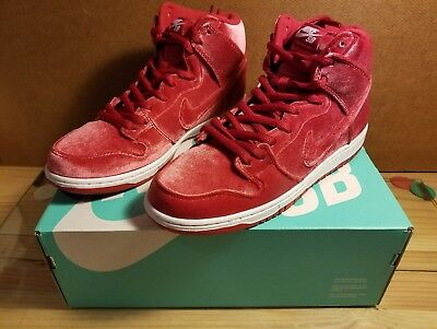 new styles 435be 6b9a6 Nike Sb Dunk High Red Velvet Gym Red Athletic Shoes 313171-661 New Size 10.5
