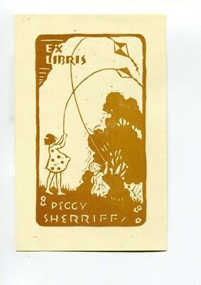 Ex libris for Sherriff  Children flying kites