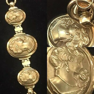 Antique 19 C Carved 3D Victorian 3 Fernch Empire Style Ladys 18ct Gold Bracelet