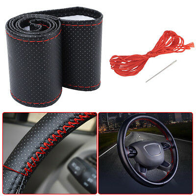 Black+Red DIY PU Leather Car Steering Wheel Cover 38cm With Needles and Thread