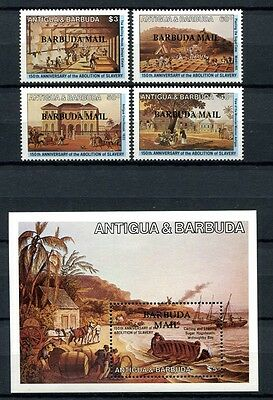 Barbuda 1984 Sklaverei Gemälde Plantagen Paintings Slavery 750-53 Block 86 MNH