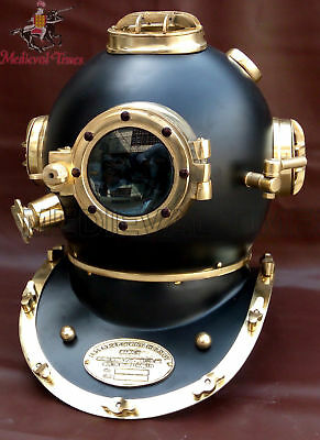 "U.s Navy Mark V Solid Steel & Brass Heavy Diving Divers Helmet 18"" Vintage Black"