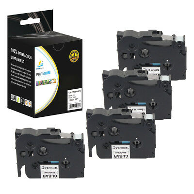 4PK Replacement TZe131 Black on Clear 1/2in 26.2ft Label Tape for Brother Ptouch
