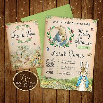Peter Rabbit Baby Shower Invitation Printable Digital File 5x7