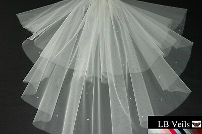 White Crystal Wedding Veil Any Length 2 Tier Long Short LBV151 LBVeils UK
