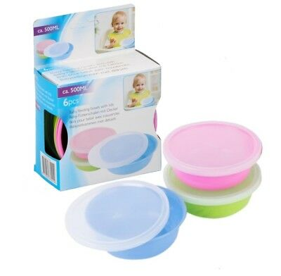 Baby Feeding Bowl with Lid 3pc Set 500ml - Childrens Plastic Bowl with lid