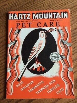 Vintage 1940's Hartz Mountain Pet Care Booklet 31 Page Informational Pamphlet