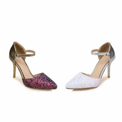 Plus Size High-Heeled d'Orsay Shiny Glitter Pointed Shoes Ankle Strap Pumps S170