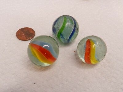 """Nice Lot of three old Marbles 1"""" Diameter Swirl and Cats Eye Type SHOOTERS"""