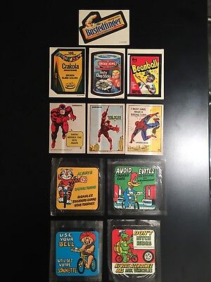 VERY RARE ! Vintage 1973 Wacky / 1967 Marvel / 1970 Cereal Stickers, Lot of 11