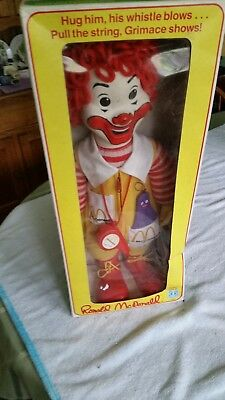 Vintage 1978 Ronald McDonald 22 Inch Doll in box W/ Whistle & Grimace In Pocket